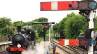 Scene on the Epping & Ongar Railway at North Weald station during a Steam Gala in June 2014. Looking west towards Epping, with Beattie Well Tank 30585 taking water. [Ref query 1043]<br><br>[Ian Dinmore&nbsp;07/06/2014]