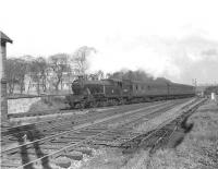 Gresley V1 2-6-2T 67603 takes a train for Drumry through Whiteinch East Junction (now Hyndland East) on 17 April 1957 [ref query 1039].<br><br>[G H Robin collection by courtesy of the Mitchell Library, Glasgow&nbsp;17/04/1957]