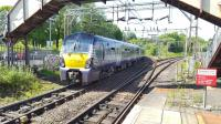 334017 takes the Helensburgh line at Dalreoch Junction.<br><br>[Beth Crawford&nbsp;25/05/2017]