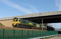 Freightliner 66512 and 66562 double head a container train southwards at Morecambe South Junction on 18th April 2017.<br><br>[Mark Bartlett&nbsp;18/04/2017]