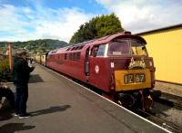 Driver to photographer: Did you get my good side? D1015 Western Campaigner is ready at Minehead to return railtour passengers along the WSR to pick up their HST for Paddington.<br><br>[Ken Strachan&nbsp;13/05/2017]