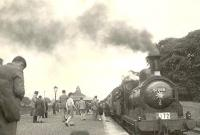 Caley 'Jumbo' 57266 with the SLS <I>Paisley-Barrhead District Tour</I> at Kilbarchan on 1 September 1951.<br><br>[G H Robin collection by courtesy of the Mitchell Library, Glasgow&nbsp;01/09/]