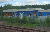 Anti-graffiti artwork at Newbridge Junction.<br> Other such Network Rail commissioned graffiti deterrent art can be seen at Jordanhill,  Partick, Eglinton Street and Motherwell.<br><br>[John Yellowlees&nbsp;30/05/2017]