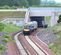 A southbound train on the Borders Railway emerges from below the Edinburgh City Bypass and approaches Kings Gate Points on 28 May 2017.<br><br>[John Furnevel&nbsp;28/05/2017]
