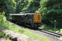 The ELR Small Engines weekend took place on 3rd/4th June 2017, coincidentally the 45th Anniversary of the last BR passenger train to Rawtenstall. Newly repainted 09024 runs through the woods near Summerseat on a short working from Bury to Ramsbottom. <br><br>[Mark Bartlett&nbsp;03/06/2017]