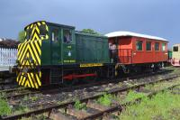 NBL 27421 of 1955, ex-RAF Leuchars No. 400, at the passenger platform with the former Norwegian State Railways guards brake van which carries visitors on the demonstration line on Summer Sundays.<br><br>[Bill Roberton&nbsp;04/06/2017]