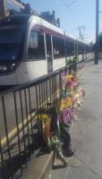 Flowers placed close to the location where cyclist Zhi Min Soh died in a vehicle accident after her wheel became stuck in tram tracks in Edinburgh. <br><br>[John Yellowlees&nbsp;03/06/2017]