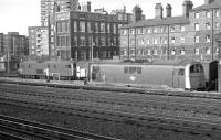 Class 73 and 71 locomotives stabled in Grosvenor carriage sidings in 1974. View is east, with Victoria station half a mile north to the left. [Ref query 1065]<br><br>[Bill Roberton&nbsp;//1974]