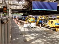 Platform 12 at Waverley has been so thoroughly ripped up that its hard to believe it is being extended rather than abolished. Meanwhile, the building behind it, which will in due course need to be demolished, is still in use.<br><br>[David Panton&nbsp;12/06/2017]