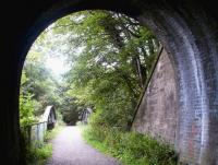 Looking out from the south portal of Auchendinny Tunnel on 10 September 2002. The former station stood on the other side of the bridge which carried the railway over the North Esk [see image 43919]. The Penicuik terminus was located approximately one kilometre to the south.<br><br>[John Furnevel&nbsp;10/09/2002]