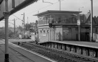 Balloch Central signal box seen from the old station platforms. After closure of the Balloch Pier line the new Balloch station was constructed on the other side of the road eliminating the need for the level crossing. <br> <br><br>[Bill Roberton&nbsp;//1986]