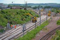 Looking south over track and signalling work to connect the new electric train depot on the 18th of June.<br><br>[Bill Roberton&nbsp;18/06/2017]