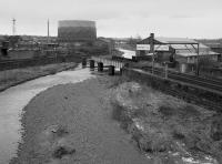Wrecked bridge over the River Caldew on the former Carlisle Goods Line. This followed a freight train derailment, after which the line was subsequently formally closed. <br><br>[Bill Roberton&nbsp;//1986]