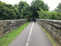 View north along Viaduct Walk at the Kinness Burn viaduct [see image 35756] in June 2017. The walkway and cycle route are at formation level along the trackbed of the former Anstruther and St Andrews Railway. Further north at the end of the walkway, the trackbed has been infilled to bring it up to street level for use as a series of car parks.<br><br>[Colin McDonald&nbsp;15/06/2017]