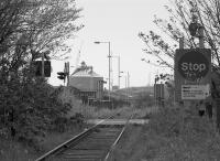Looking west towards Methil Docks along the disused rail connection in 1994.<br><br>[Bill Roberton&nbsp;//1994]