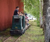 The diesel hauled train reaches one end of the 600mm track layout at Skyttorps Maskinmuseum. This post-war Ruston DL 20 4wDM is generally only active on the day that the Museum has its Open Day in mid June.<br><br>[Charlie Niven&nbsp;17/06/2017]
