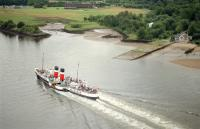 PS Waverley heads to Glasgow in 1993 passing the old Erskine Ferry slipway, viewed from the Erskine Bridge.<br><br>[Ewan Crawford&nbsp;//1993]