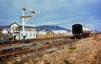 Aviemore North SB, although by the time this photo was taken in the 1970s it was the only box. In the siding sits a suburban coach, which had been delivered to the Strathspey Railway, coupled to a Ruston 4wDM shunter.<br><br>[John McIntyre&nbsp;//]