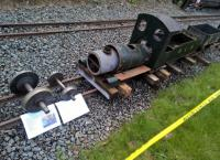 This is what happens if you don't give steam engines enough coal and water - they starve to death. Lakeshore Railroad's new build Sapphire rests on 9.5-inch metals on the light railway in the grounds of the Downs School.<br><br>[Ken Strachan 01/05/2017]
