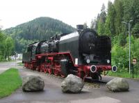 Former Deutsche Reichsbahn Class 50 No. 245 is now a static exhibit<br> outside Triberg station on the Schwarzwaldbahn, seen here on 1st June 2017. Built<br> in 1939, 50 245 was acquired by the Eisenbahnfreunde Zollernbahn after<br> German reunification. Scheduled steam excursions over the spectacular<br> central section of the railway are a regular feature of summer operations.<br> [With thanks to Bill Jamieson for loco intelligence]<br><br>[David Spaven&nbsp;01/06/2017]
