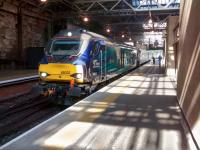 Having arrived ECS with barely enough time to board, 68022 <I>Resolution</I><br> pulls out of Platform 2 at Waverley with the 1717 to Cardenden on 20/06/2017.<br> <br><br>[David Panton&nbsp;20/06/2017]