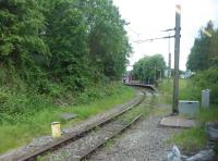 Another grab shot from a Hadfield bound train at Dinting on 16th June 2017. This view looks across to the Glossop branch platform, which the train had called at a few minutes previously prior to going into Glossop to reverse and then take the Hadfield line on the triangle. <br><br>[Mark Bartlett&nbsp;23/06/2017]