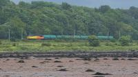 Colas Rail 56302 heads west with an oil train (Colas on trial to Fort William?). It has just passed through the westbound Dalreoch Tunnel. <br><br>[Ewan Crawford&nbsp;02/07/2017]
