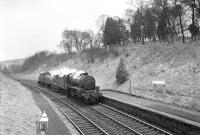 Kingmoor Black 5 no 44767 northbound through Stobs on 11 April 1967 hauling BR Hunslet class 05 0-6-0DM shunters D2608, D2617 and D2593. The combination was en route from Bradford Hammerton Street to Edinburgh Haymarket [see image 45108].<br><br>[Bruce McCartney&nbsp;11/04/1967]