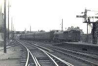 V1 67664 arriving with a train at Helensburgh Central on 14 June 1958.<br><br>[G H Robin collection by courtesy of the Mitchell Library, Glasgow&nbsp;14/06/1958]