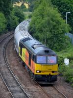 60085 passes Inverkeithing Central Junction with Aberdeen - Oxwellmains cement empties on 21 June.<br><br>[Bill Roberton&nbsp;21/06/2017]