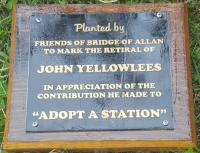 A new plaque erected at Bridge of Allan station today (4th of July 2017).<br><br> <i>Planted by</i> Friends of Bridge of Allan to Mark the retiral of John Yellowlees in appreciation of the contribution he made to 'Adopt a Station'.<br><br>[John Yellowlees&nbsp;04/07/2017]