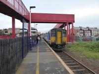 Northern 150277 calls at Blackpool Pleasure Beach on a service for Colne on 16th June 2017. This station opened in 1987 and is now used by over 100,000 passengers per year so will be a significant contributor to receipts on the Blackpool South branch. <br><br>[Mark Bartlett&nbsp;23/06/2017]