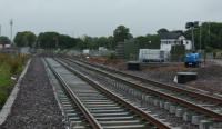 The new station site is progressing well, platforms are nearly complete, the footbridge is being erected and track laid. This view looks east, with the signal box on the right.<br><br>[Alan Cormack&nbsp;07/07/2017]