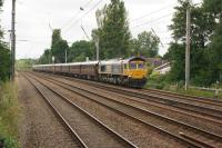 GBRF 66744 'Crossrail' hauls the 1Z75 <I>Royal Scotsman</I> on the first day of the <I>'Grand Tour of Great Britain'</I> towards Chester on 09 July 2017. 66746 which had led from Dundee to Edinburgh [see image 59935] where 66744 was evidently added as a substitute for non-starter 66743. <br><br>[John McIntyre&nbsp;09/07/2017]