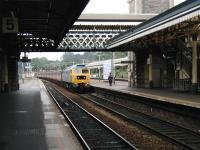 A terminating Virgin Cross Country service from Manchester Piccadilly runs into platform 4 at Exeter St Davids during the afternoon of 6 June 2002.<br><br>[Ian Dinmore&nbsp;06/06/2002]