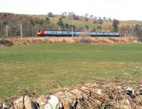 A Voyager heads south shortly after passing through the remains of Beattock station on 27 March 2017. [See image 58903]<br><br>[John Furnevel&nbsp;27/03/2017]