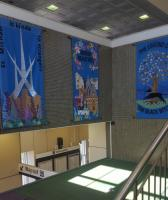 Beautiful new banners have been hung by the stairs to the eastbound platform at Linlithgow, replacing previous ones installed there many years ago. Banners commissioned by Burgh Beautiful Linlithgow. Designed and created by the Embroiderer's Guild, Linlithgow & District. Funded by The ScotRail Foundation.<br><br>[John Yellowlees&nbsp;08/07/2017]