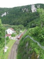 An IRE service pauses at the monastery village of Beuron in the Danube gorge on 6th June 2017. The station loop is long gone and the station building is now used as a Haus der Natur for visitors, staffed by the regional park authority.<br><br>[David Spaven&nbsp;06/06/2017]