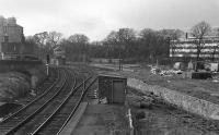 Looking west from the footbridge in 1972 towards Morningside Road signal box and former goods yard.<br><br>[Bill Roberton&nbsp;//1972]