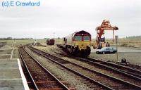 Locomotive waits at Georgemas for the empty <i>Safeway</i> containers to be taken south. This service was suspended when Morrisons took over <i>Safeway</i>.<br><br>[Ewan Crawford&nbsp;//]