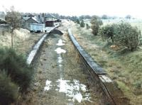 Biggar station and SB looking east on a rainy day in October 1971. [See image 33370]<br><br>[John Furnevel&nbsp;13/10/1971]