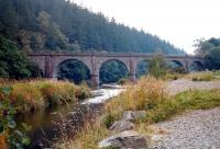 View of Neidpath Viaduct, to the west of Peebles. Looking south along the River Tweed in September 2002.<br><br>[John Furnevel&nbsp;19/09/2002]