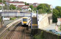 An Edinburgh train at Kinghorn in May 2005. Is there a slight touch of Italian Adriatic Coast about the place?<br><br>[John Furnevel&nbsp;23/05/2005]