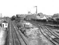 The surviving section of the Waverley line passing Lady Victoria colliery, Newtongrange, in 1971. View north towards the site of Newtongrange station.<br><br>[John Furnevel&nbsp;06/10/1971]