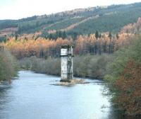 The remains of the old viaduct at Fort Augustus rise Excalibur - like (sorry about that) from the River Oich in November 2002.<br><br>[John Furnevel&nbsp;02/11/2002]
