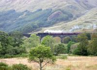 Black 5 45407 crossing Glenfinnan viaduct on 30 September 2005 with <i>The Jacobite</i> bound for Mallaig. <br><br>[John Furnevel&nbsp;30/09/2005]