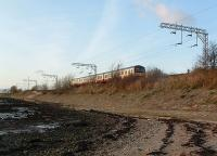 SPT train heading east from Cardross as seen from beach.<br><br>[Beth Crawford&nbsp;17/12/2005]