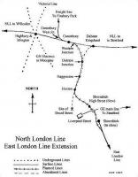 Map showing central section of North London Line including former route to Broad Street and effects of East London Line extension, Dec 2005. <br><br>[John Furnevel&nbsp;/12/2005]