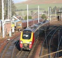 A Northbound WCML Voyager passing the sidings and loops at Abington on a bright and sunny Christmas Eve 2005. [See image 6252]<br><br>[John Furnevel&nbsp;24/12/2005]