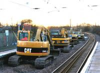 Unusual traffic on the ECML at Longniddry station on Boxing Day 2004. View is west towards Waverley.<br><br>[John Furnevel&nbsp;26/12/2004]